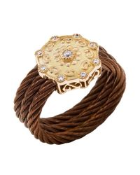 Charriol   Brown Women's Celtique Rose 18k Gold And Bronze-tone Diamond .13tcw Ring   Lyst