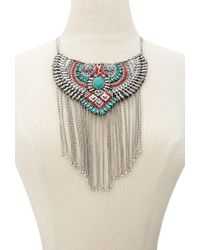 Forever 21 - Metallic Fringed Beaded Bib Necklace - Lyst