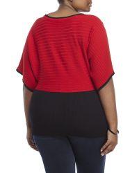 Joseph A - Red Plus Size Button Detail Poncho Top - Lyst