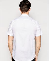 Fred Perry - White Shirt With Mix Texture Slim Fit Short Sleeves for Men - Lyst