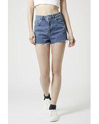 TOPSHOP | Blue Moto Vintage Mom Shorts | Lyst