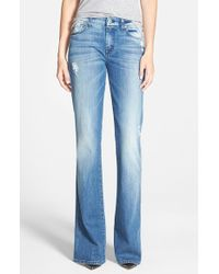 7 For All Mankind | Blue 'a-pocket' Distressed Bootcut Jeans | Lyst