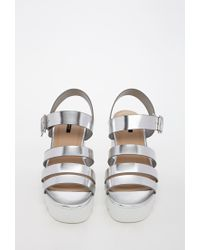 Forever 21 | Metallic Patent Faux Leather Platform Sandal | Lyst
