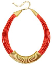 Macy's | Red Robert Rose Gold-tone Seed Bead Collar Necklace | Lyst