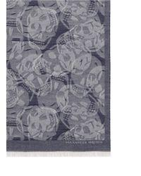 Alexander McQueen | Blue Skull Camouflage Wool Scarf | Lyst