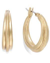 Lauren by Ralph Lauren - Metallic Gold-Tone Ribbed Hoop Click-Top Earrings - Lyst