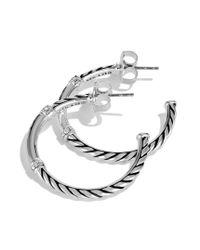 David Yurman - Metallic Metro Small Hoop Earrings with Diamonds - Lyst