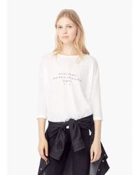 Mango - White Printed Message T-shirt - Lyst