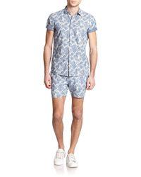 YMC - Blue Astro Star-print Cotton Shirt for Men - Lyst