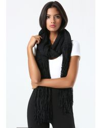 Bebe - Black Tape Yarn Fringe Wrap - Lyst