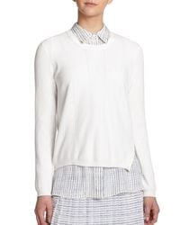 Vince - White Perforated Crewneck Sweater - Lyst