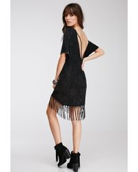 Forever 21 - Black Fringed Cutout T-shirt Dress - Lyst