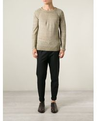 Roberto Collina - Natural Crew Neck Sweater for Men - Lyst