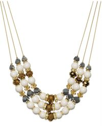 INC International Concepts | Metallic Gold-tone Mixed Bead Three-row Frontal Necklace | Lyst