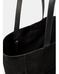 Violeta by Mango - Black Suede Shopper Bag - Lyst