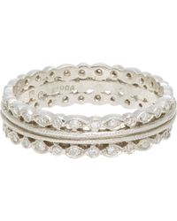Cathy Waterman - White Triple-band Ring - Lyst