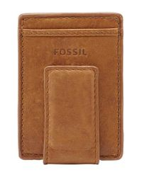 Fossil | Brown 'ingram' Leather Magnetic Money Clip Card Case for Men | Lyst