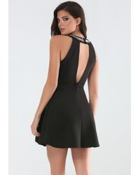 Bebe | Black Beaded Double Layer Dress | Lyst