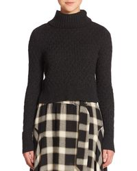 A.L.C.   Black Jeannie Cabled Turtleneck Sweater   Lyst