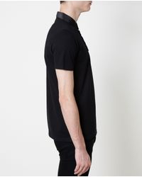 Lanvin | Black Ribbon Collar Polo Shirt for Men | Lyst