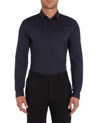 HUGO | Blue Ero3 Slim Fit Skull Shirt for Men | Lyst