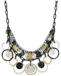 Style & Co. - Metallic Tri-tone Hammered Shaky Charm Necklace - Lyst
