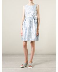 P.A.R.O.S.H. - Blue Belted Flared Floral Dress - Lyst