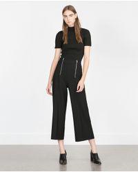 Zara | Black Short Sleeve Sweater | Lyst