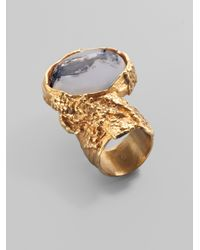Saint Laurent | Metallic Goldtone Arty Ovale Ring | Lyst
