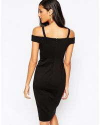 Forever Unique | Black Krista Midi Bandage Dress With Ring Detail | Lyst