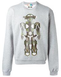 MSGM - Gray Robot Print Sweatshirt for Men - Lyst