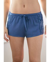 Forever 21 | Blue Lace-paneled Pj Shorts | Lyst