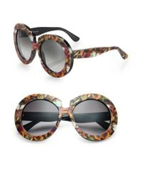 Valentino Brown Camu Butterfly 54Mm Round Sunglasses for men