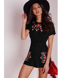 Missguided - Embroidered T-shirt Playsuit Black - Lyst