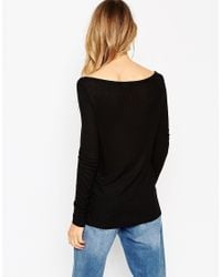 ASOS | Black Top With Off Shoulder Detail In Slouchy Rib | Lyst