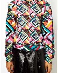 House of Holland | Multicolor Sweatshirt in Patchwork with Silk Panel To Front | Lyst