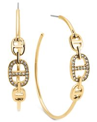 Michael Kors - Metallic Gold-Tone Clear Stone Maritime Post Hoop Earrings - Lyst