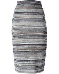 N°21 | Black Stripes Print Pencil Skirt | Lyst