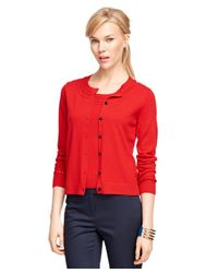 Brooks Brothers | Red Saxxon Wool Cardigan | Lyst