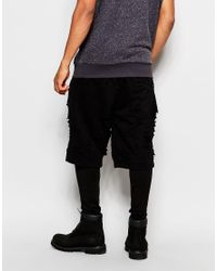 ASOS - Black Meggings With Shorts In Distressed Style for Men - Lyst
