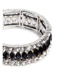 Kenneth Jay Lane | Metallic Crystal And Jet Elasticated Bracelet | Lyst