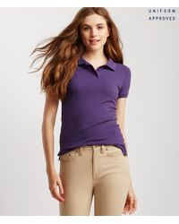 Aéropostale | Purple Solid Uniform Piqué Polo | Lyst