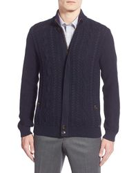 Ted Baker - Blue 'hofman' Cable Knit Zip Sweater for Men - Lyst
