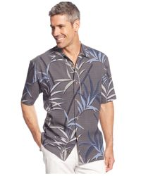 Tommy Bahama | Gray Vine-print Silk Shirt for Men | Lyst