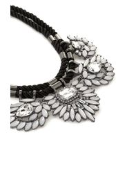 Forever 21 | White Bejeweled Flower Statement Necklace | Lyst