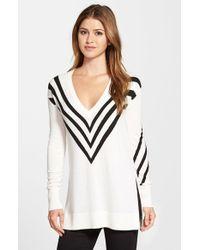 Halogen - White Side Slit V-neck Tunic Sweater - Lyst