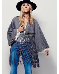 Free People | Green Dramatic Sleeve Suede Kimono | Lyst