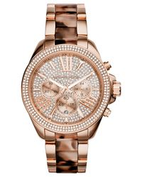 Michael Kors - Pink Women'S Chronograph Wren Blush Tortoise And Rose Gold-Tone Stainless Steel Bracelet Watch 42Mm Mk6159 - Lyst