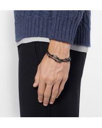 Bottega Veneta - Black Silver And Leather Bracelet for Men - Lyst