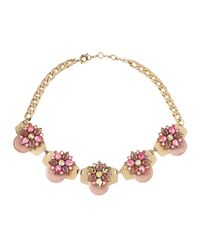 Panacea - Pink Epoxy Golden Collar Necklace - Lyst
